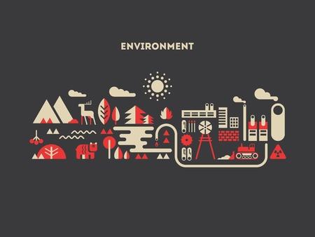 vida natural: diseño de concepto de medio ambiente plana. Árbol y la naturaleza, natural y paisaje, vida ecológica, la construcción de la energía, ilustración vectorial