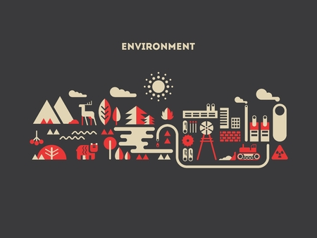 natural energy: Environment design flat concept. Tree and nature, natural and landscape, eco life, energy building, vector illustration Illustration