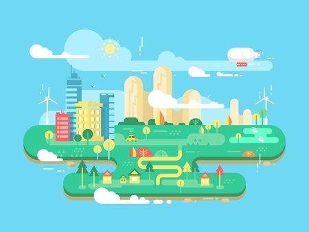 Green city flat. Cityscape and energy town, tree and building, architecture urban, vector illustration Stock Illustratie