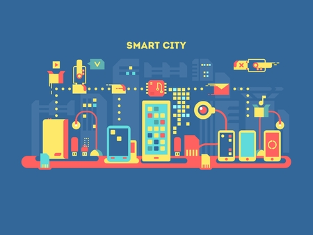 infraestructura: concepto de ciudad inteligente. tecnología de la comunicación, ordenador con Internet, digital móvil urbano, ilustración vectorial Vectores
