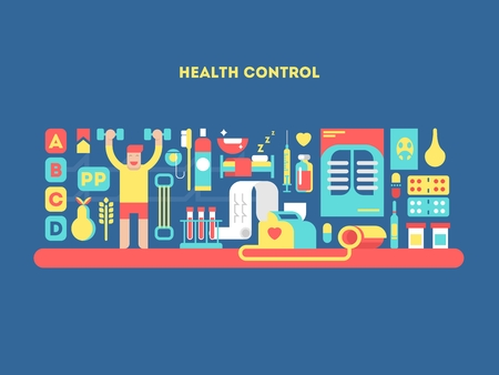 health care and medicine: Health control design concept. Care healthcare, medicine healthy technology, vector illustration