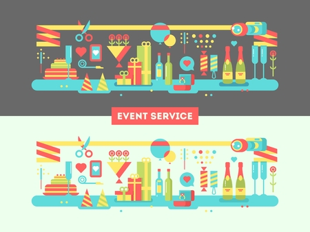 event party: Event service design flat. Birthday happy, surprise and invitation party, package and show, vector illustration