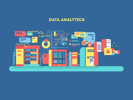 Data analytics design flat. Web technology, management information, development process optimization, vector illustration