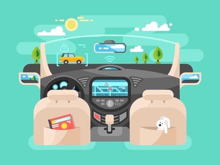 Automobile computer assistent. Car technology, auto transport, automotive navigation transportation, illustration Vectores
