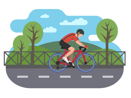 Cyclist on bike path. Bicycle and biking road, travel cycle, recreation sport, transport illustration Vectores