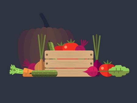 natural food: Vegetables farm flat design. Food organic, nature agriculture, healthy natural carrot plant, illustration