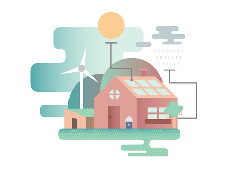 house energy: Eco house design flat. Eco energy, ecology home, nature environment, estate building architecture, illustration Illustration