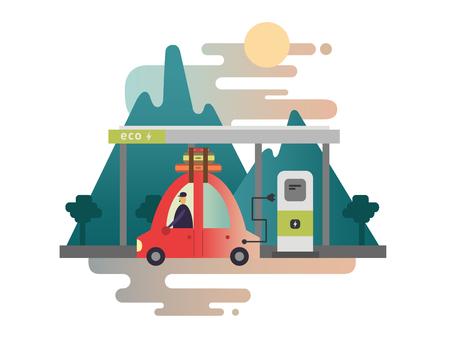 electric automobile: Electric car design. Energy vehicle, transportation power, technology transport, alternative automobile, illustration