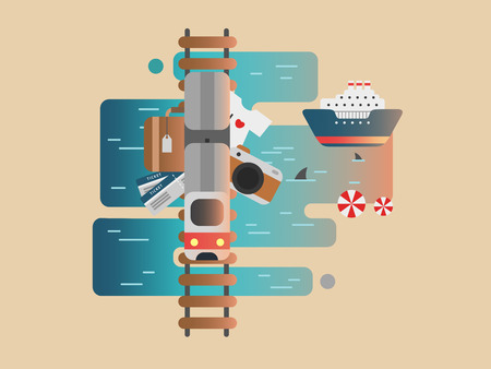souvenir: Travel railway and cruise. Tourism trip, ship transport, vacation journey, souvenir illustration