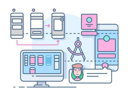 UX UI design flat. Mobile interface, website internet, development media page, illustration