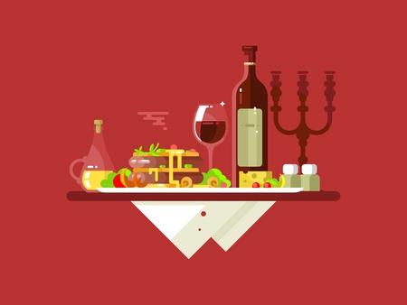Diner food restaurant. Lunchgerecht, gastronomisch heerlijk, lekker eten, plaat vlees, wijn glas, vers gebakken, illustratie