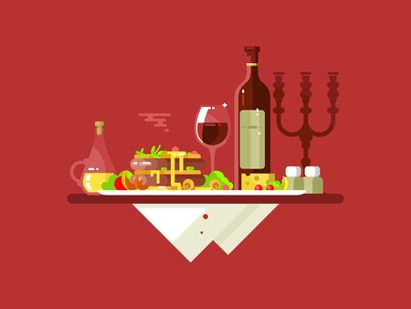 Dinner-Food-Restaurant. Mittagsgericht, Gourmet lecker, lecker Essen, Teller Fleisch, Weinglas, frisch gebraten, illustration
