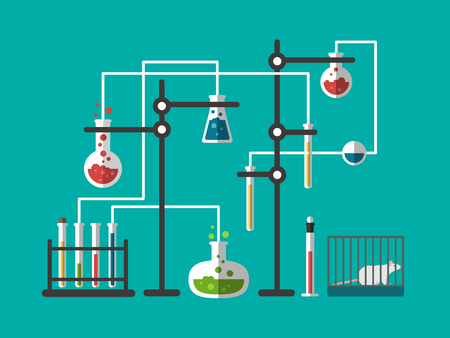lab test: Laboratory design flat. Science research, lab chemistry, technology medical test and analysis, illustration