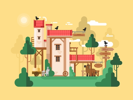 rural house: Farmland real estate design flat. Farm house, rural real estate Illustration