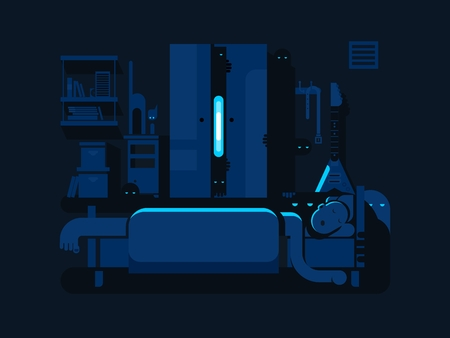 dark room: Bedroom mystic flat design. Bed and pillow, cartoon room resting, mystical and lying Illustration