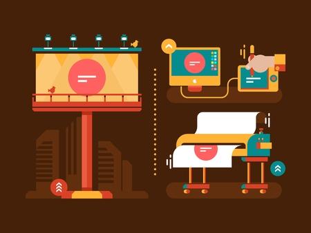 Proceso de creación de publicidad al aire libre. cartel publicitario, comercial cartel, tablero de publicidad, información de cartel Ilustración de vector