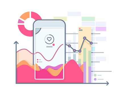 Schedule pulse on smartphone. Phone and pulse heart, health device app, gadget technology, illustration