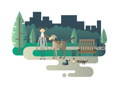 dog walker: Walk with a dog. Animal puppy, happy doggy, tree field, breed mammal, illustration