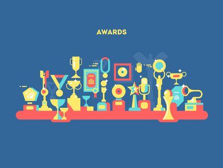 business education: Awards set design flat. Sport success, trophy victory, winner prize, medal and ribbon. Vector illustration