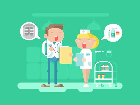 cartoon man: Doctor and nurse character. Hospital medicine, medical professional, care and stethoscope, conversation people. Vector illustration