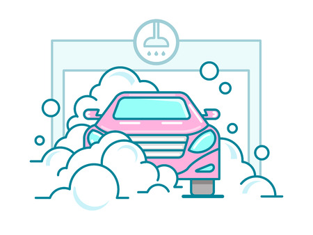 service station: Car wash linear design. Automobile service, water and clean automatic, garage station,  vector illustration Illustration