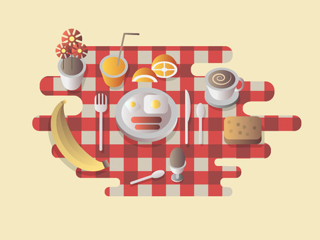 breakfast cup: Breakfast design flat. Food and coffee cup, egg and bread, fresh meal morning, vector illustration