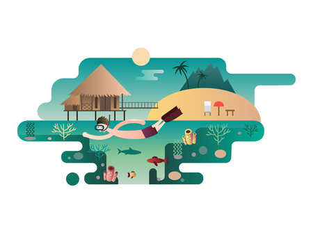 cartoon umbrella: Beach island design flat concept. Travel vacation, sea summer, palm and nature, ocean and sun, tropical tree, vector illustration