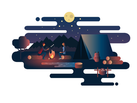 hot background: Night fire near the tent camp. Nature campfire, outdoor vacation, adventure travel, landscape camp, vector illustration