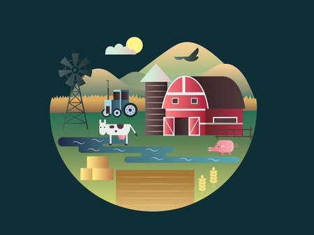 cartoon land: Farm concept flat design. Agriculture village, house and land, vector illustration Illustration