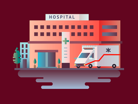 car care center: Hospital building design flat. Medical health, care and healthcare, architecture clinic, vector illustration Illustration