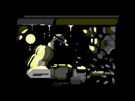underground: Miner character design flat. Coal industry, man in helmet, worker work underground, hard mining, vector illustration