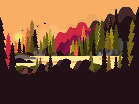 forest landscape: Landscape forest flat design. Nature tree, green environment, natural scene wood, vector illustration