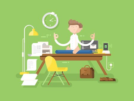 Meditation businessman in office. Yoga man, meditating professional, lotus sitting, pose relaxation, vector illustration Vettoriali
