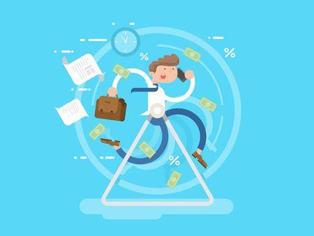 Businessman at the wheel. Business wheel, person run, hamster race metaphor, vector illustration Vectores
