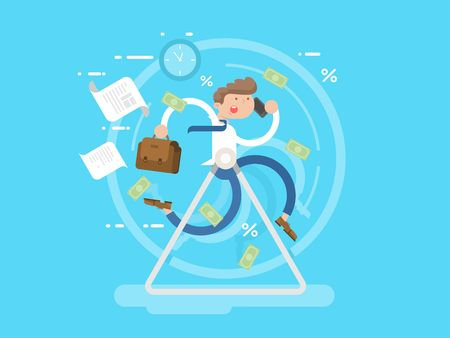Businessman at the wheel. Business wheel, person run, hamster race metaphor, vector illustration Vettoriali
