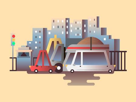 the traffic movement police: Road traffic design flat. Street and car, city transportation, urban transport, auto on highway, vector illustration