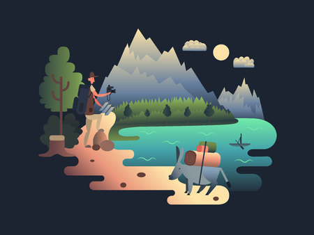 researcher: Traveller researcher design flat. Tourism and adventure, tourist outdoor summer, person research, vector illustration