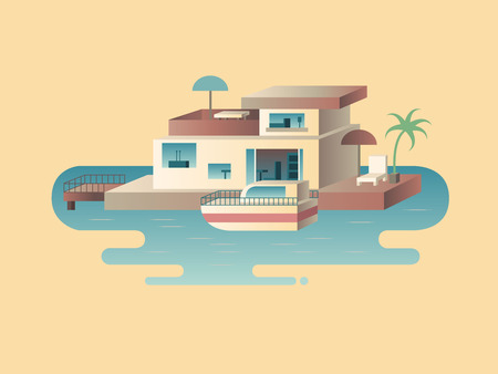 mediterranean homes: House on water with yacht. Sea boat, building architecture in ocean, vector illustration