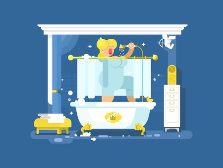 Woman singing in the shower. Care and art in bathroom, beautiful beauty, bath relax, vector illustration