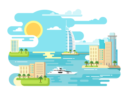 beach panorama: City beach design flat. Building and travel, landscape summer vacation, tourism sea, vector illustration