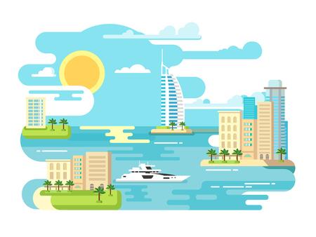 Stadsstrand ontwerp plat. Building en reizen, landschap zomer vakantie, toerisme zee, vector illustratie
