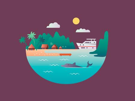 flotadores yate cerca de las costas tropicales. Mar o la playa de agua de mar, la naturaleza paisaje, viaje se relajan isla, ilustración vectorial Ilustración de vector