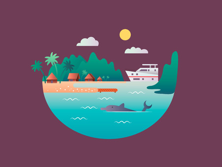 floating: Yacht floats near the tropical shores. Sea or ocean water beach, landscape nature, travel relax island, vector illustration