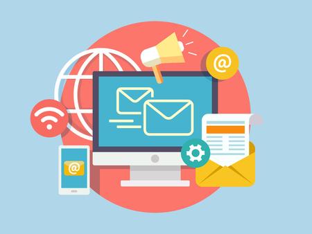 redes de mercadeo: concepto de marketing social. negocio de los medios, icono de la comunicación por Internet, red de gestión en línea, ilustración vectorial