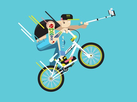 Active bicyclist. Young guy on bmx traffic, motion active. Flat vector illustration