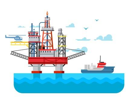 Drilling rig at sea. Oil platform, gas fuel, industry offshore, drill technology, flat vector illustration Illustration