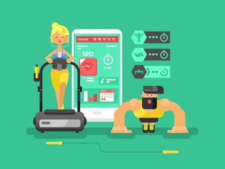 gadget: Ffitness app man and woman flat design. Sport health, mobile interface, smart gadget technology, vector illustration