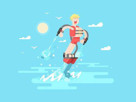 Hombre con Flyboard. mosca agua, vacaciones extrema, deportes acuáticos y las motos acuáticas, la recreación de chorro de agua, ilustración vectorial