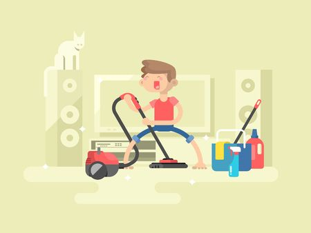 hoover: Boy cleaning house. Housework room, young cleaner, domestic cleaning, vector illustration