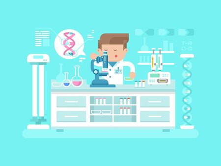 science lab: Genetics doctor man. Medical research, test science, biology laboratory, lab scientific, vector illustration